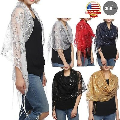 Women's Mesh Sequin Metallic Party Occasion Prom Wedding Shawl Scarf with Fringe
