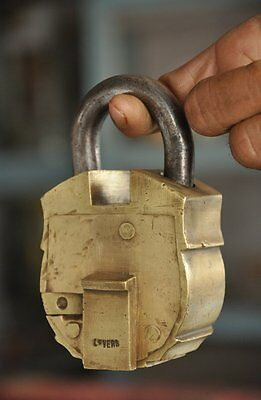 Old Brass Solid Heavy Unique Handcrafted Tricky Padlock , Rich Patina