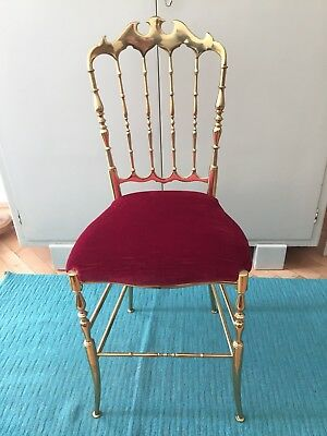 Messing Stuhl Original Royal Prinzessin Prunk Rotes Samtpolsterung 1960er