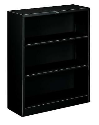 HON Metal Bookcase - Bookcase with Two Shelves, 34-1/2w x 12-5/8d x 41h, Black