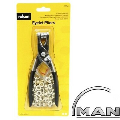 Eyelet Pliers Heavy Duty With 100 Eyelets Hole Punch Brass Tool Leather 20844