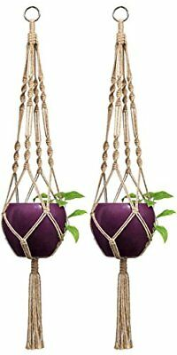 Mkono 2 Pcs Macrame Plant Hanger Indoor Outdoor Hanging Planter Basket Jute Rope