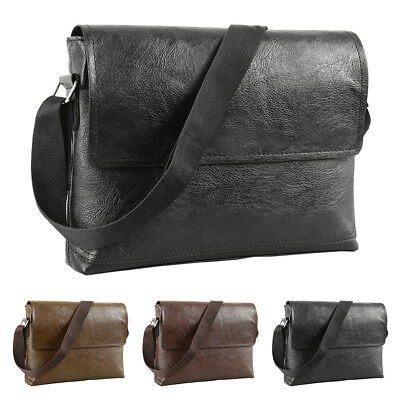Men's Adjustable Genuine Leather Briefcase Handbag Travel Shoulder Messenger Bag