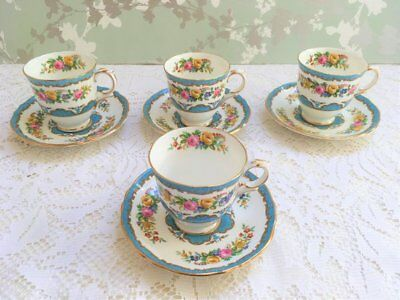 Set of 4 Crown Staffordshire Blue Lyric Tunis Demi Tasse Cup and Saucers