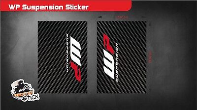 WP Suspension Bike Upper Forks Decal Stickers Graphic Set Adhesive Carbon  2 Pcs