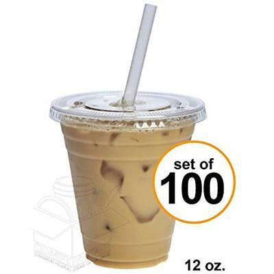 100 Sets 12 Oz. Plastic Crystal Clear Cups W/ Flat Lids For Cold Drinks, Coffee