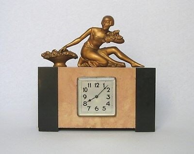 Authentic VINTAGE FRENCH ART DECO CLOCK with statuette, in perfect working order