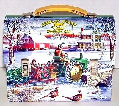 JOHN DEERE Tractors Lunch Box  Winter Scene Collectible Farming Agriculture 1997