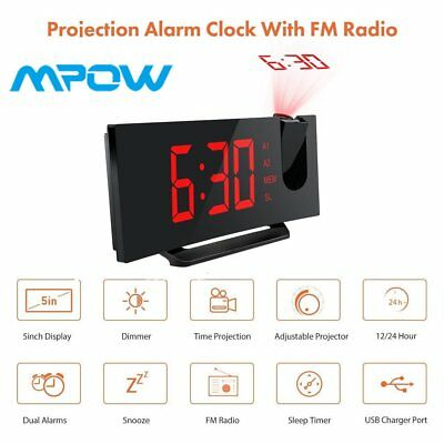 FM Projection Digital Weather LCD Snooze Alarm Clock Color Display LED Backlight