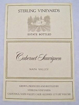 Vintage Wine Label Sterling Vineyards Cabernet Sauvignon Napa Valley California
