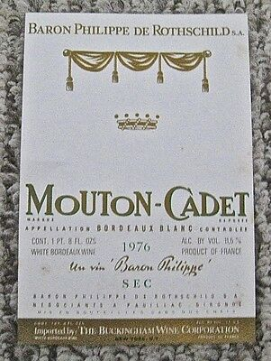 Vintage Wine Label 1976 Mouton-Cadet Bordeaux Blanc Baron Philippe