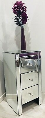 Pair Of Modern Mirrored Small 3 Drawer Bedside Table Cabinet Venetian