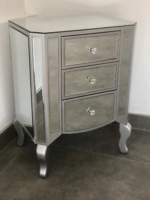 Silver Trim Mirrored 3 Drawer Bedside Table Cabinet Modern Venetian Pair