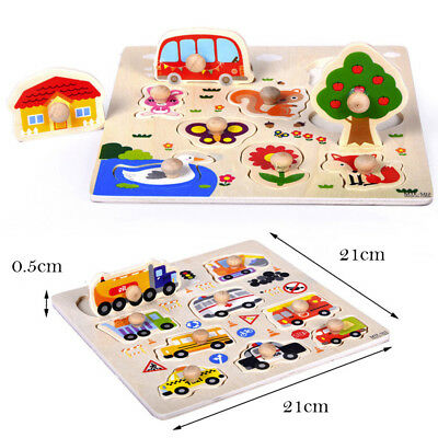 9 Piece Kids Wooden Animal Puzzle Jigsaw Developing Children's Intelligence Toys