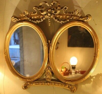 Mirror Double mirror Gilt frame mirror Gold frame mirror Antique mirror decor