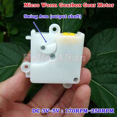 Worm Gearbox Gear Reduction Motor DC 3V-5V 170RPM-250RPM With Swing Arm DIY Toy