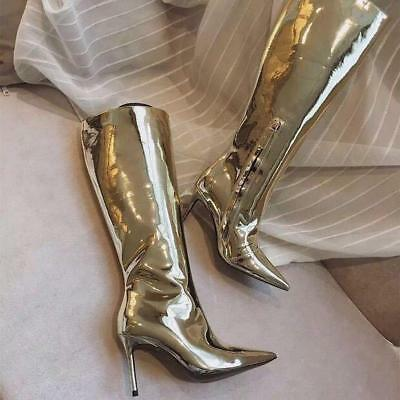Womens Occident Patent Leather Stilettos High Heels Knee High Boots Sexy Shoes