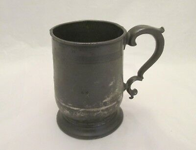 A 19thC Pewter Pint Tankard by Yates & Birch - X mark