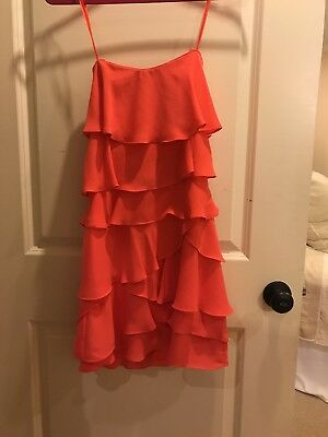 bd08dea36cff2 NEW BCBG MAXAZRIA Coral Ginger Strapless Ruffle Tiered Dress Size 6 ...