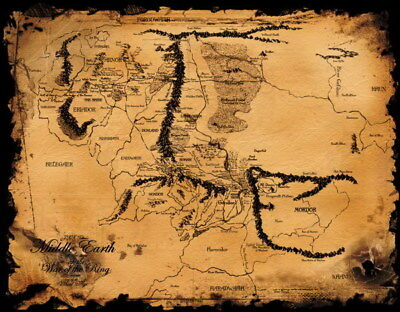 158943 Map of Middle Earth Lord Of The Rings Hobbit Wall Print Poster AU