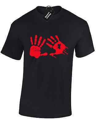 Bloody Hands Mens T Shirt Halloween Costume Zombie Fancy Dress Scary Spooky