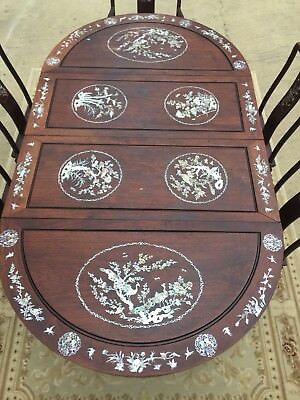 Vintage Chinese Mother Of Pearl Inlaid Rosewood Dining Set-4 Side/1 Arm Chair