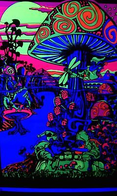 166463 Generic Magic Valley Trippy Mushrooms Black Wall Print Poster AU