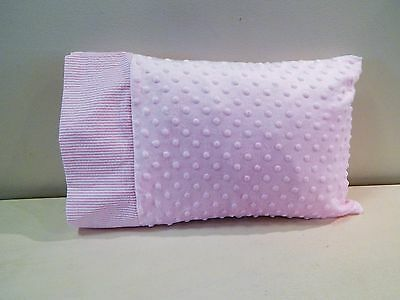 NWT Pink Seersucker Minky Dot Toddler Pillowcase 12x16 Girl Bed Nap Mat Stripe