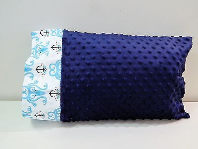 NWT Octopus Anchor Blue Minky Dot Toddler Pillowcase 12x16 Nap Bed Ocean Beach
