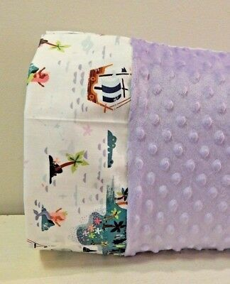NWT Neverland Purple Minky Toddler Pillowcase 12x16 Girl Napmat Bed Mermaid Whit