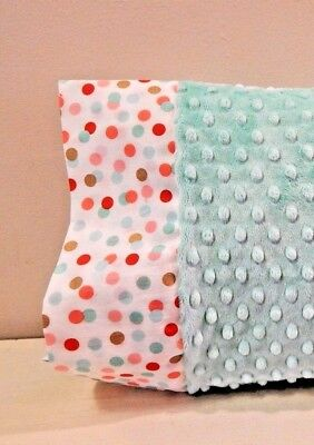 NWT Teal Aqua Dot Minky Toddler Pillowcase 12x16 Girl Napmat Bed Metallic Gold