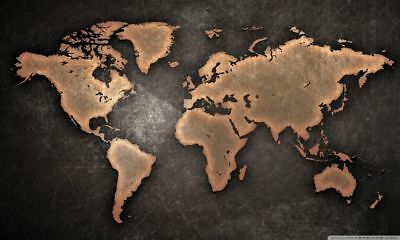 169467 World Map Large Detailed Physical Art Wall Print Poster AU