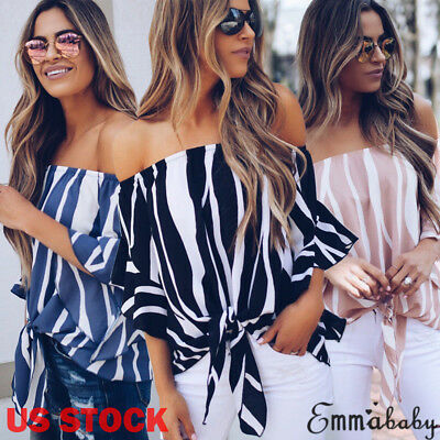 US Boho Women Off Shoulder Casual Solid Shirts Top Tees Blusas Blouse Tops HOT