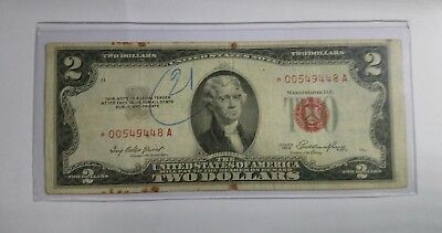1953 Usa Banknote $2 Dollars Red Seal Two Dollar STAR NOTE S/N #*00549448A USED!