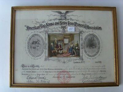 """Antique Paper Lithograph 10""""x12"""" """"Betsy Ross - Norristown,PA Member"""" ~1889 43/51"""
