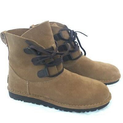 20cfac52171 UGG 1017534 ELVI Ankle Lace-Up Boots Chestnut Brown Suede -Women'S Us 9