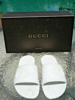 a38e27bf43f Authentic Gucci Logo Mirosoft Bianco White Slides Sz 6G 7M 9W-SOLD OUT