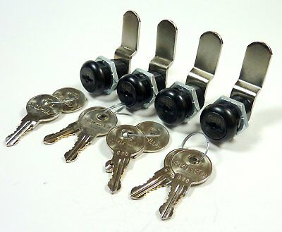 "4/Pk 7/8"" Double Bitted Black Cam Lock Keyed Alike 2 Keys Each 1-1/4"" Offset Cam"