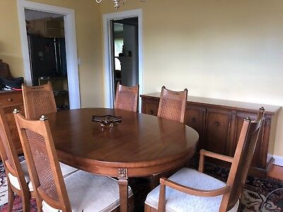 "Drexel ""San Remo Dining Table 6 chairs, buffet, c.1963, Pecan, upholstered/cane"