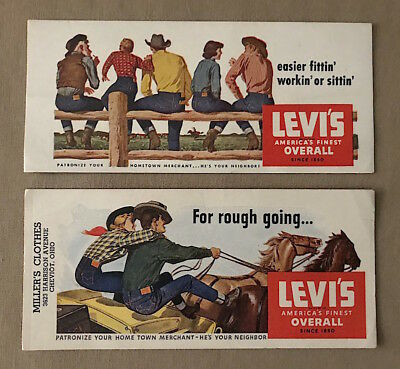 Vintage Unused 1950s LEVI'S JEANS Advertising INK BLOTTERS Set