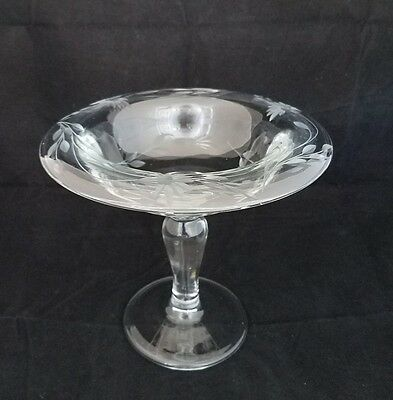 Vintage Etched Heavy Crystal Pedestal Candy Dish Clear Glass