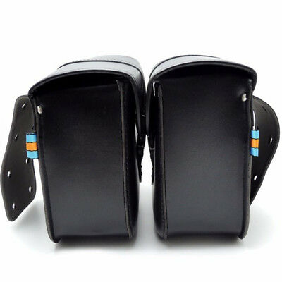 Black Waterproof Motorcycle PU Leather Saddle Bag Storage Tool Pouch Left Right