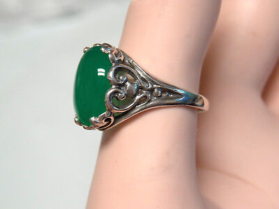 NATURAL 4ct green onyx filigree antique 925 sterling silver ring size 8 USA