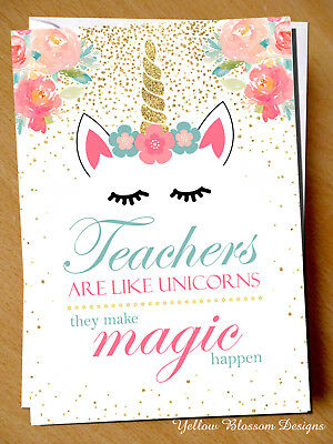 Unicorn Thank You Card Teacher Card Teaching Assistant Magic Gift Cute End Term