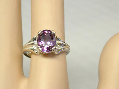 NATURAL 2.50ct purple amethyst 925 sterling silver ring size 6.5 USA  10x8mm