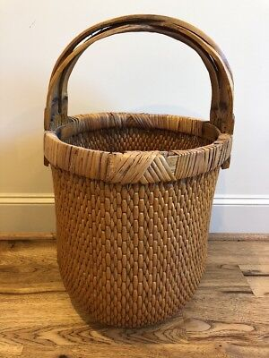 Chinese Woven Willow Rice Gathering Basket W Intersecting Elm Wood Handle