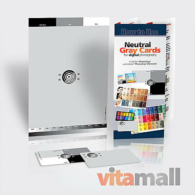 """SET of NEUTRAL DIGITAL GRAY CARDS (for white balance). Size 6x9"""" and 2x3.5"""""""