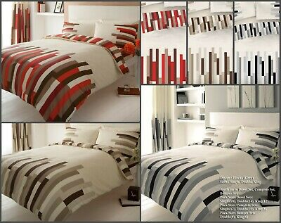 Duvet Cover with Pillowcases Reversible Poly-Cotton Bedding Single Double King