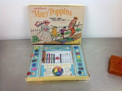 Vintage Walt Disney Mary Poppins Paint And Crayon Set Hasbro 1965