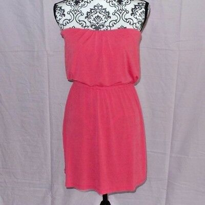 66e395be70f2 Three Pink Hearts Womens Orange Coral Pink Dress Strapless Blouson Size  Small S